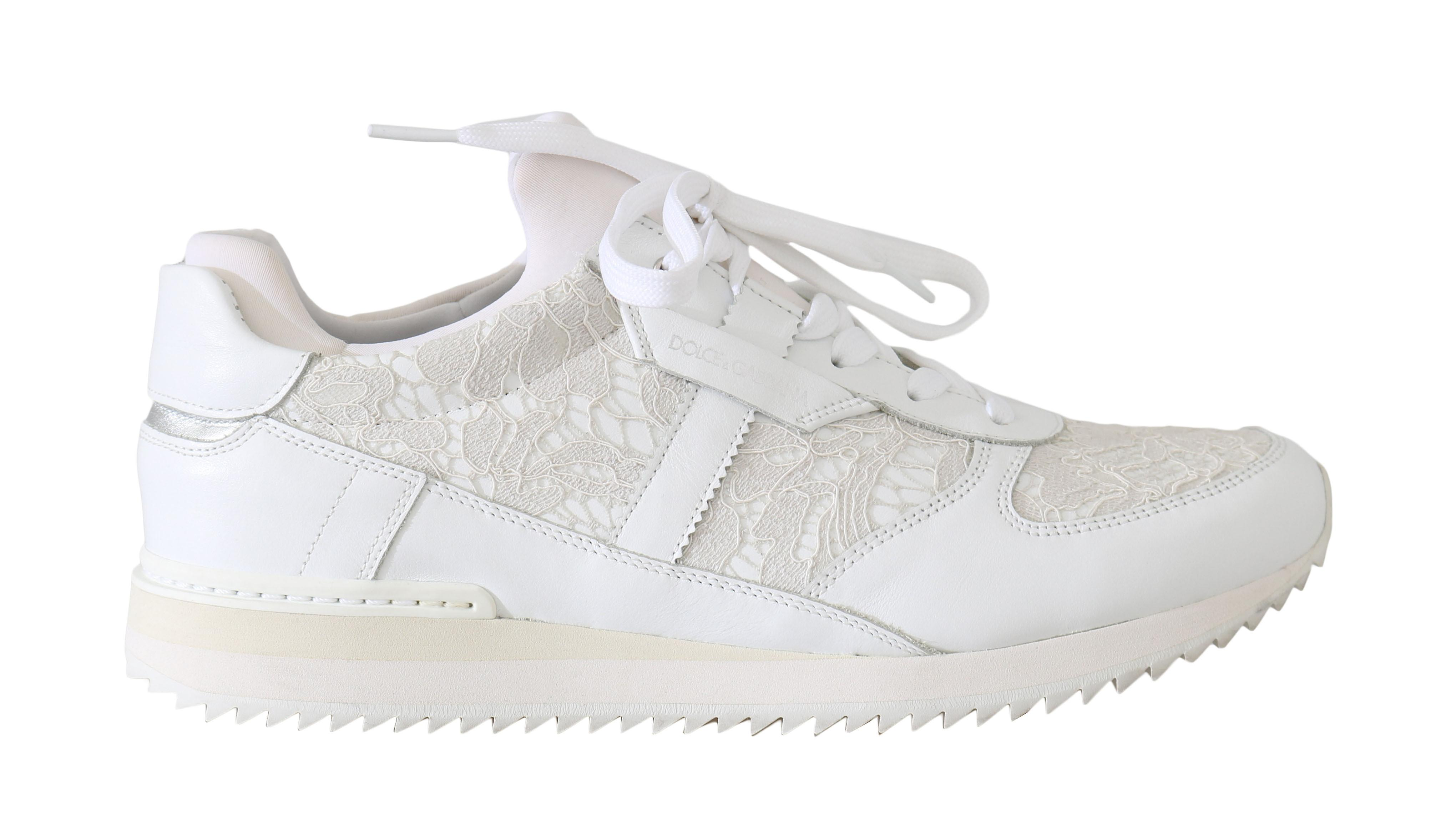 Floral Lace Leather Sneakers