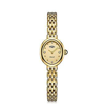 الروتاري LB05151-03-D النساء & apos;s البيضاوي الذهب لهجة الماس ساعة اليد