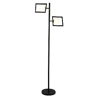 Searchlight Rosewell 2 Light Stehleuchte Matt Schwarz, Weiß, Satin Silber 4832-2BK