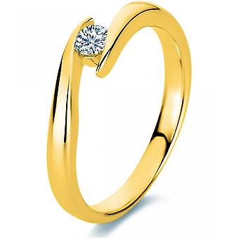 Bague en diamant - 14K 585/- Or jaune - 0.15 ct. Taille 52
