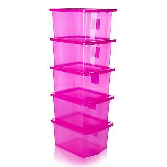 Wham Paquete de almacenamiento de cajas de almacenamiento de plástico de cristal de 5 - 35 litros con tapas
