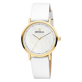 ORPHELIA Women Analogue Watch Fronte di marmo White Leather OR11706