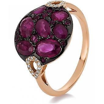 Gemstone Ring Diamonds 0.07 ct. Ruby 2.46 ct. Size 55