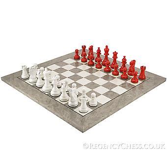 Atlantin Scarlet ja Grey Burl Chess Set