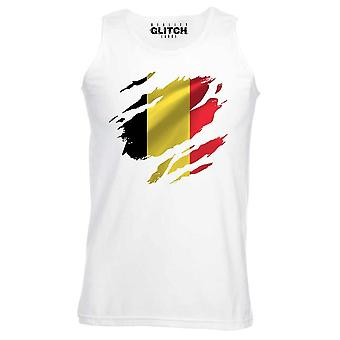 Reality glitch torn belgium flag mens vest