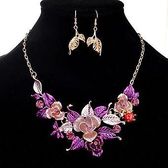 Blomst erklæring halskæde & ørering sæt