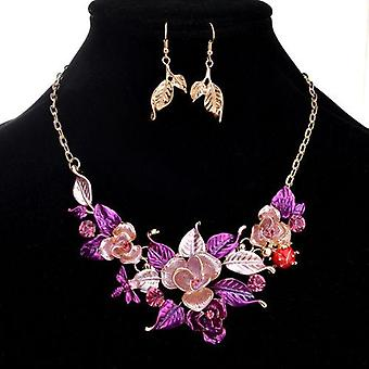 Flower statement necklace & earring set