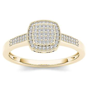 Igi certified 14k yellow gold 0.17 ct diamond halo cluster engagement ring