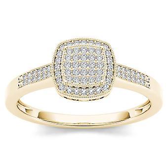 Igi certifierad 14k gult guld 0,17 ct diamant halo kluster förlovningsring