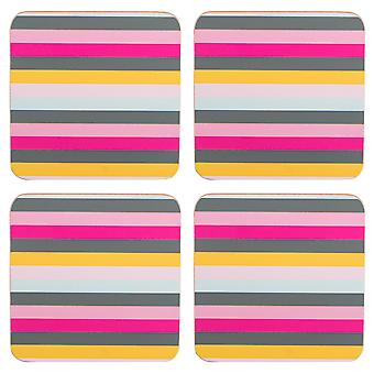 Navigate Gardenia Set of 4 Coasters, Stripe