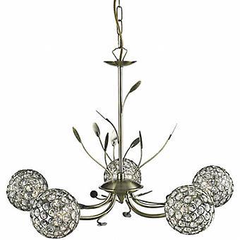 5 Light Multi Arm Ceiling Pendant Delabo Flower Design Antique Brass, Verre