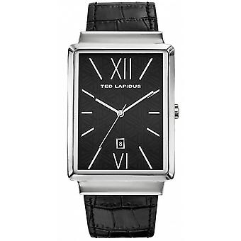 Watch Ted Lapidus 5132101 - Black Leather Strap Watch Bo tier Steel Triangular Steel Men