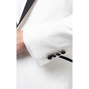 Dobell Mens الأبيض المخملية البدلة الرسمية سترة العادية صالح النقيض الذروة Lapel