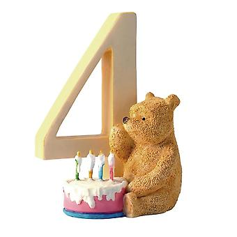 Classic Pooh Age 4 Pooh With Birthday Cake Figurine
