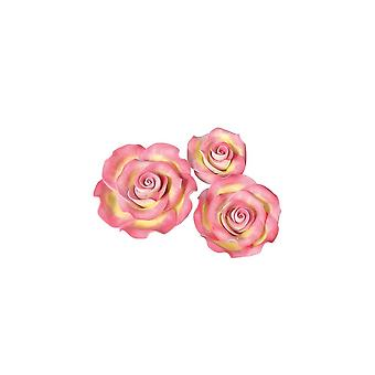 SugarSoft Edible Flower - Roses - Marbled - Pink & Gold - Mixed Pack Of Assorted Sizes - 12 Roses