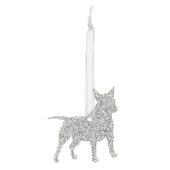 Holographic Silver Miniature Bull Terrier Style 1 Glitter  Christmas Decoration