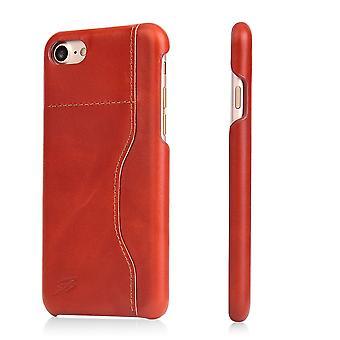iPhone 8,7 lompakko tapauksessa tyylikäs vahattu suojaava lehmän nahkakansi, ruskea