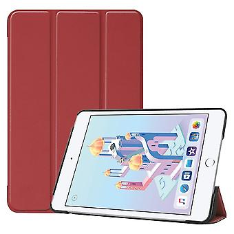 For iPad mini 5 (2019) Case Wine Red Karst Texture Smart PU Leather Folio Cover