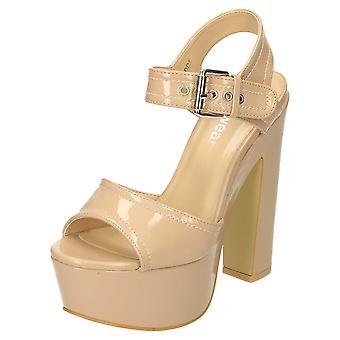 Koi Footwear High Block Heel Platform Slingback Peep Toe Shoes Patent