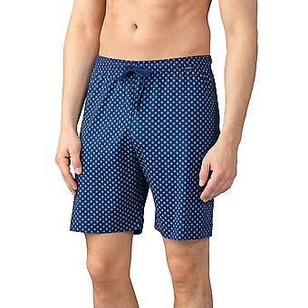 Mey Men 21450-664 Men's Lounge Neptune Blue Motif Cotton Pyjama Short