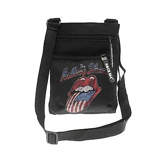 The Rolling Stones Crossbody Bag USA Tongue Band Logo new Official Black