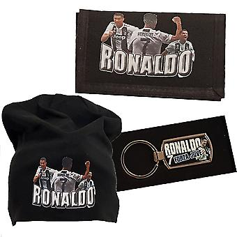 Ronaldo beanie cap, keychain & wallet packages Juventus