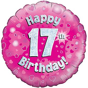 Oaktree 18 Inch Happy 17th Birthday Pink Holographic Balloon