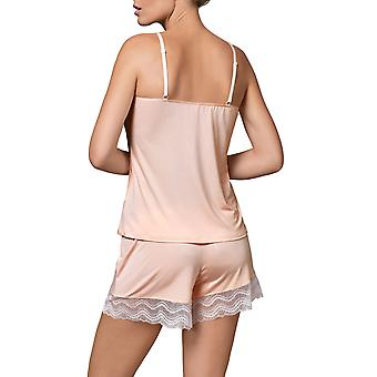 Nipplex Women-apos;s Pepite Salmon Pink Lace Pyjama Short Pyjama Set
