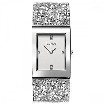 Seksy Rocks® Ladies' 2652 Silver Swarovski Crystal Bracelet Watch