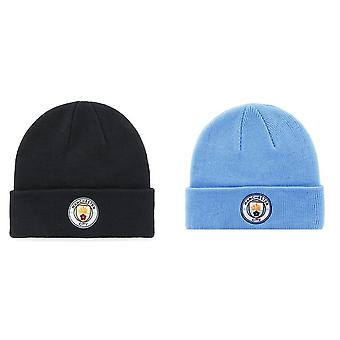 Manchester City FC Adults Official Knitted Winter Football Crest Hat