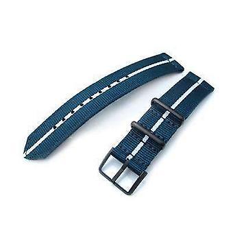 Cinghia in tessuto Strapcode 20mm due pezzi ww2 g10 nylon, blu navy e bianco, fibbia pvd