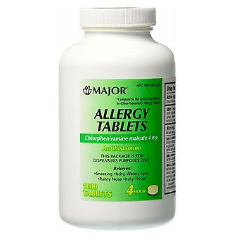 Major allergy, chlorpheniramine maleate, 4 mg, tablets, 1000 ea
