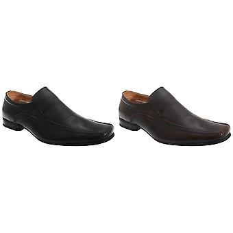 Goor Mens Leather Slip-On Tramline Formal Loafer Shoes