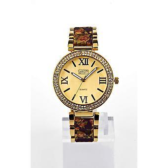 Eton Womens Gold Tone, Purple Floral Print Bracelet Fashion Watch - 3190J-PLGD