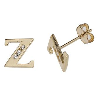 Letter A-vormige PIN oorbellen-9-karaats geel goud en Cubic Zirconia-geel goud-kleur: goud/geel-code E-10520