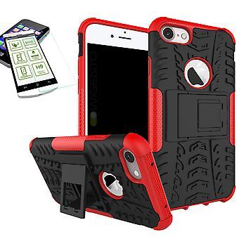 Hybride Etui 2 pièce rouge pour Apple iPhone 8 et 7 4,7 pouces + trempé couvercle verre sac
