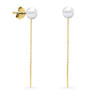 Earrings Long Pearl 18K Gold (Single Piece) - Yellow Gold, White Pearl