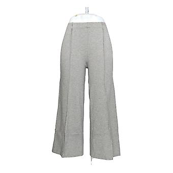 H by Halston Women's Pants Ponte Knit Wide Leg Pull On Crop Gray A272372