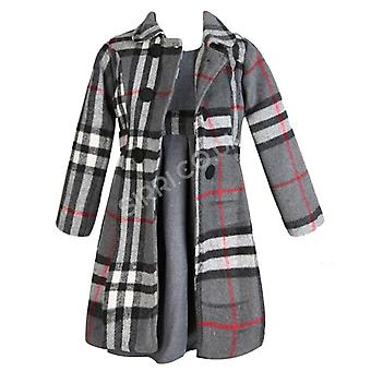 جديد 2PC الفتيات معطف الشتاء مع اللباس - رمادي