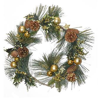 1.1m Gold Glittered Pine Cone, Ivy & Bauble Artificial Christmas Floristry Garland