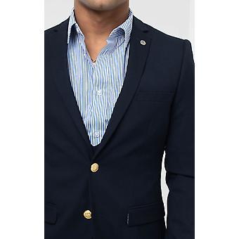 Avail London Mens Navy Suit Jacket Skinny Fit Gold Buttons