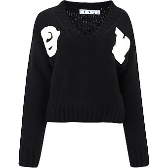 Off-white Owhd014e20kni0011001 Women's Black Wool Sweater