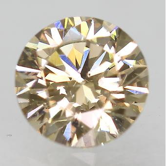 Cert 0.76 Carat Light Brown VVS2 Round Brilliant Natural Loose Diamond 5.81m 3EX