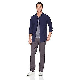 Essentials Men's Regular-Fit Langærmet Solid Casual Poplin Shirt, na...
