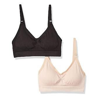 Arabella Women's Nursing Seamless Bralette 2 Pack, Sable noir/changeant, Moyen