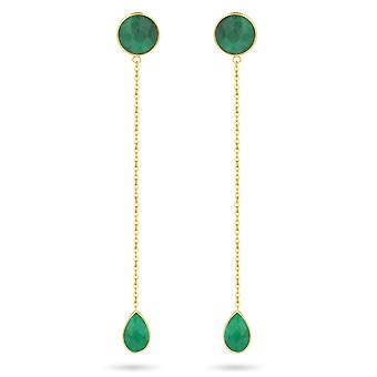 ADEN Gold Plated 925 Sterling Silver Faceted Emerald Oorbellen (id 4471)