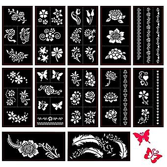 Self Adhesive Butterfly/feather/flower Designs For Body Painting Tattoo- Temporary Templates