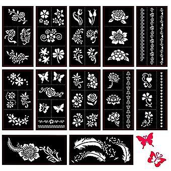 Selbstklebende Schmetterling/Feder/Blume Designs für Body Painting Tattoo-