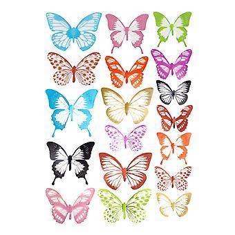18x 3D Decorative Butterflies - Multicolor