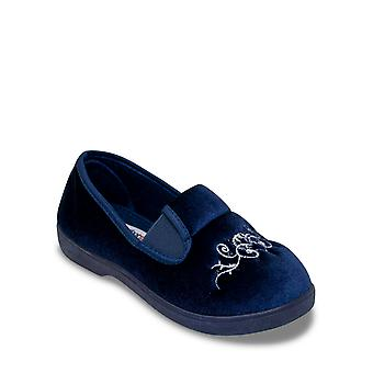 Chums Ladies Wide Fit Embroidered Velour Slipper